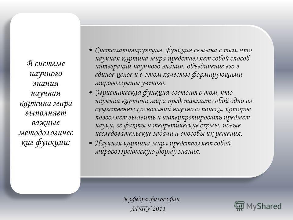 Кафедра философии ЛГТУ 2011 Систематизирующая функция связана с тем, что научная картина мира представляет собой способ интеграции научного знания, объединение его в единое целое и в этом качестве формирующими мировоззрение ученого. Эвристическая фун
