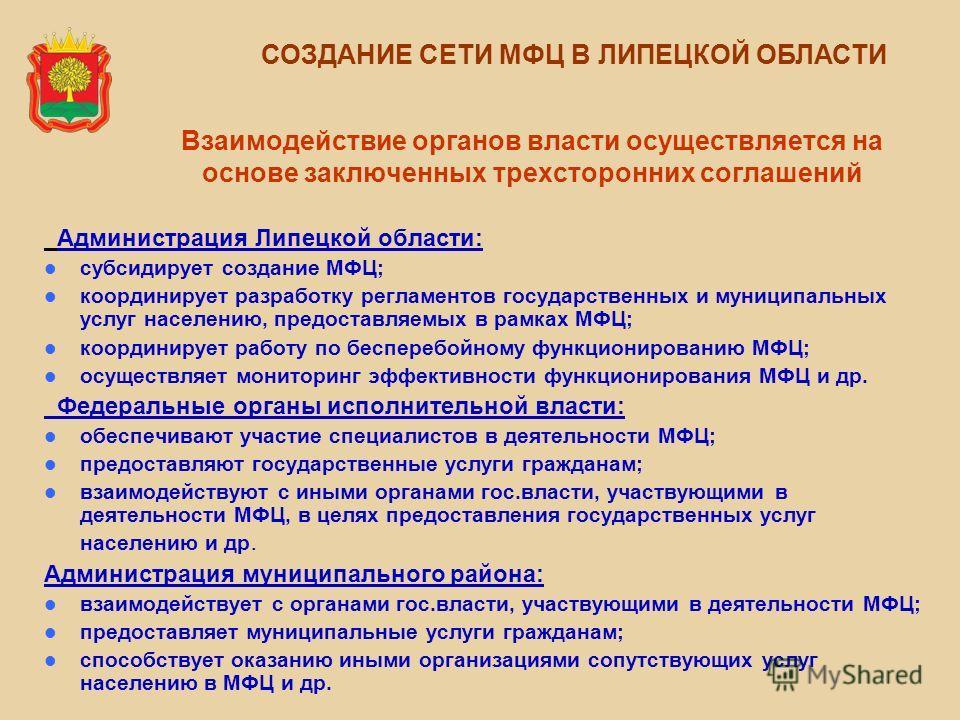 Взаимодействие органов власти осуществляется на основе заключенных трехсторонних соглашений Администрация Липецкой области: субсидирует создание МФЦ; координирует разработку регламентов государственных и муниципальных услуг населению, предоставляемых