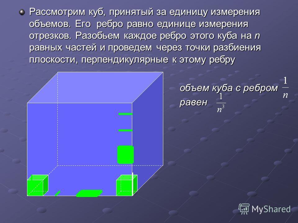 Рассмотрим куб, принятый за единицу измерения объемов. Его ребро равно единице измерения отрезков. Разобьем каждое ребро этого куба на n равных частей и проведем через точки разбиения плоскости, перпендикулярные к этому ребру объем куба с ребром объе
