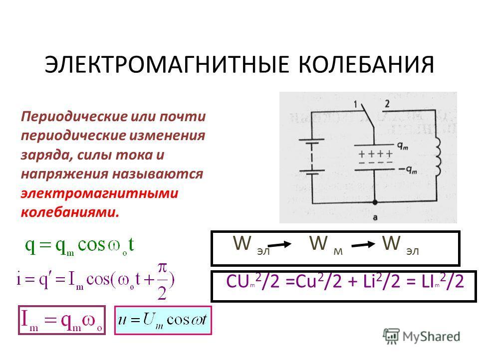 ЭЛЕКТРОМАГНИТНЫЕ КОЛЕБАНИЯ Периодические или почти периодические изменения заряда, силы тока и напряжения называются электромагнитными колебаниями. W эл W м W эл