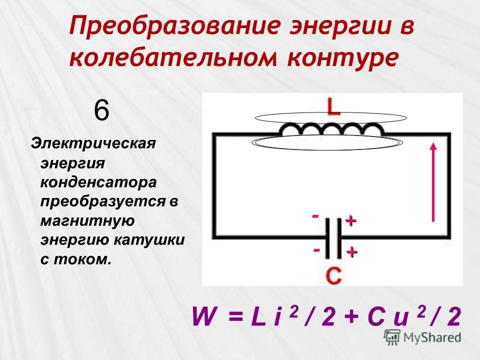 Преобразование энергии в колебательном контуре - W = L i 2 / 2 + C u 2 / 2 6 - + +