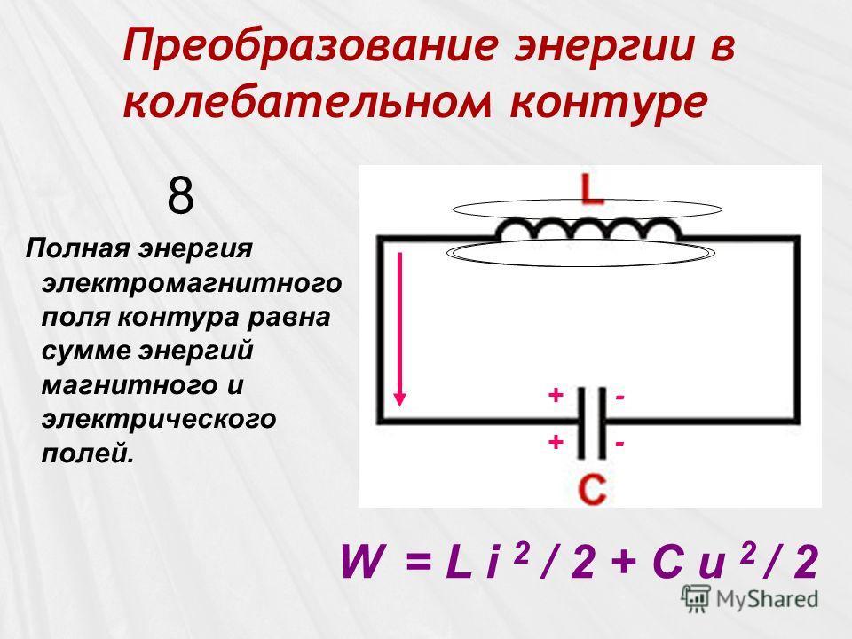 Преобразование энергии в колебательном контуре W = L i 2 / 2 + C u 2 / 2 8 + + - -