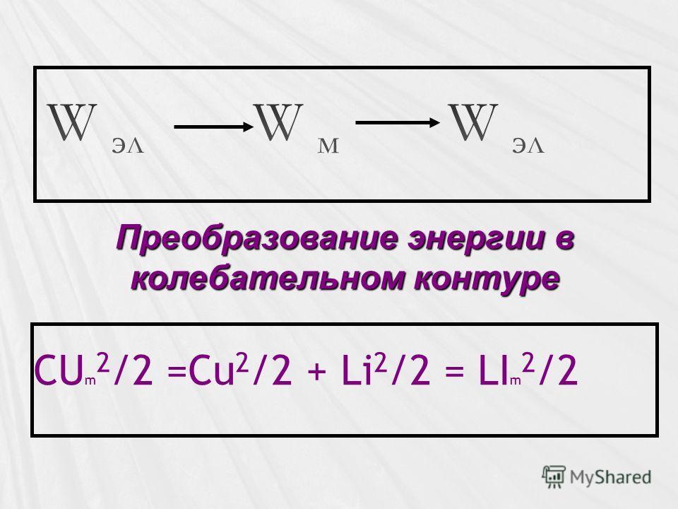 CU m 2 /2 =Cu 2 /2 + Li 2 /2 = LI m 2 /2 Преобразование энергии в колебательном контуре