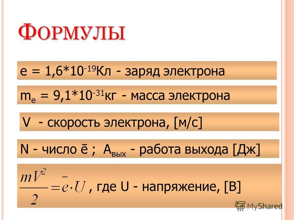 Ф ОРМУЛЫ е = 1,6*10 -19 Кл - заряд электрона m е = 9,1*10 -31 кг - масса электрона N - число ē ;А вых - работа выхода [Дж], где U - напряжение, [В] V - скорость электрона, [м/с]