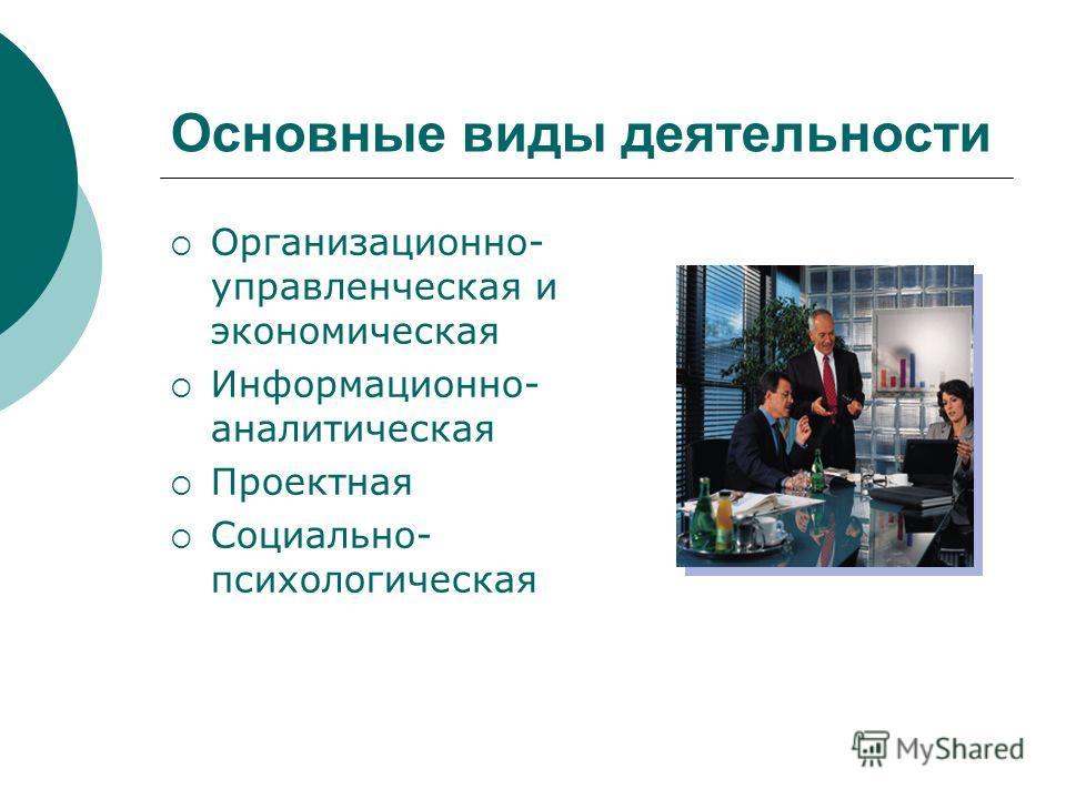 Основные виды деятельности Организационно- управленческая и экономическая Информационно- аналитическая Проектная Социально- психологическая