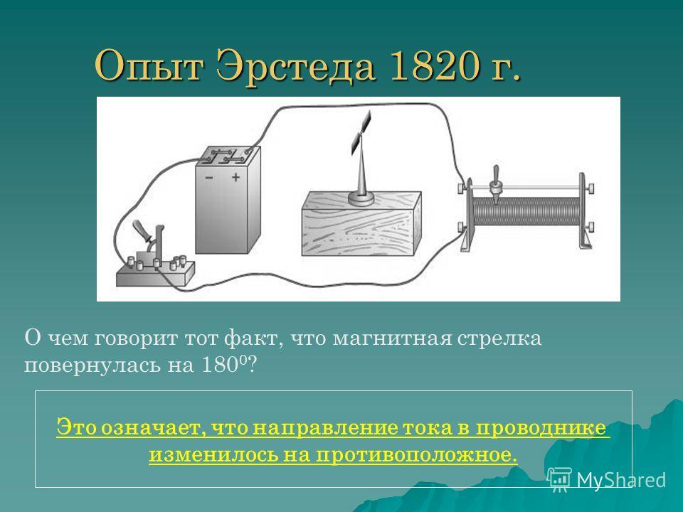 Опыт Эрстеда 1820 г. О чем говорит тот факт, что магнитная стрелка повернулась на 180 0 ? Это означает, что направление тока в проводнике изменилось на противоположное.