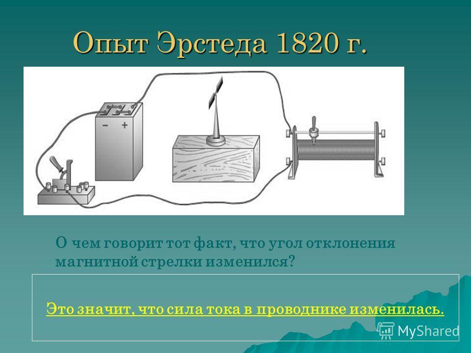 Опыт Эрстеда 1820 г. О чем говорит тот факт, что угол отклонения магнитной стрелки изменился? Это значит, что сила тока в проводнике изменилась.