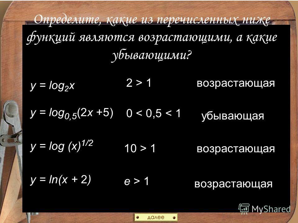 Определите, какие из перечисленных ниже функций являются возрастающими, а какие убывающими? y = log 2 x y = log 0,5 (2x +5) y = log (x) 1/2 y = ln(x + 2) 2 > 1возрастающая 0 < 0,5 < 1 убывающая 10 > 1возрастающая e > 1 возрастающая