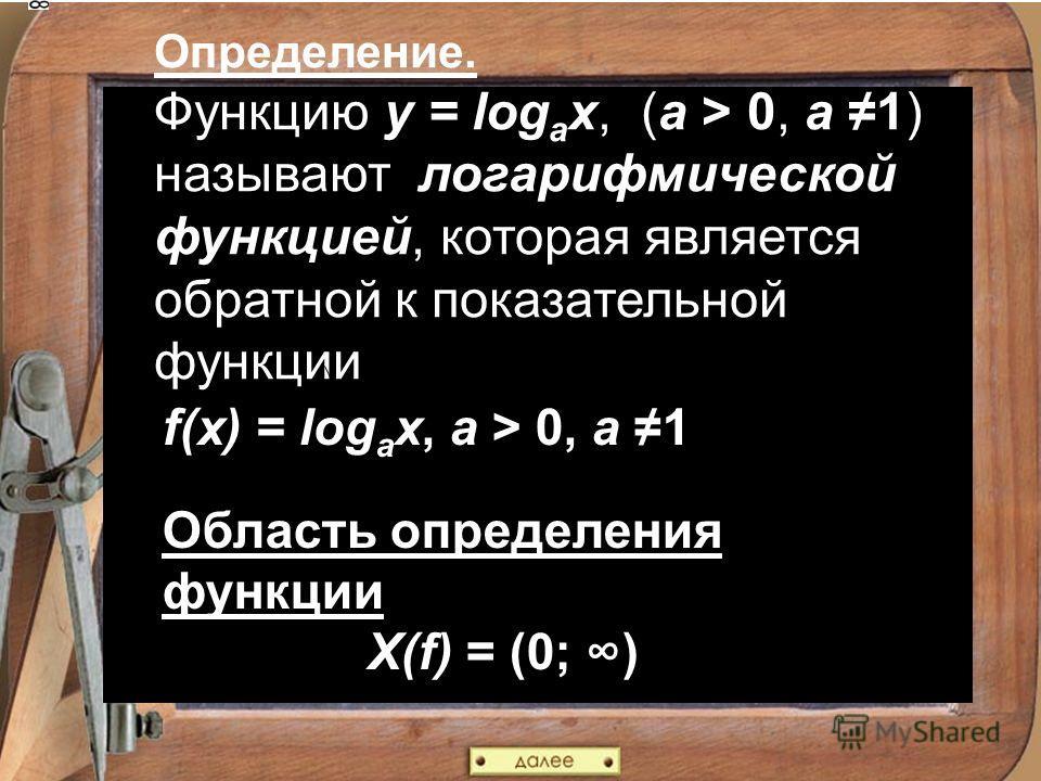 Определение. Функцию y = log a x, (a > 0, a 1) называют логарифмической функцией, которая является обратной к показательной функции f(x) = log a x, a > 0, a 1 Область определения функции X(f) = (0; )