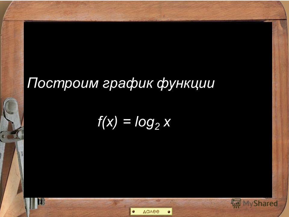 Построим график функции f(x) = log 2 x