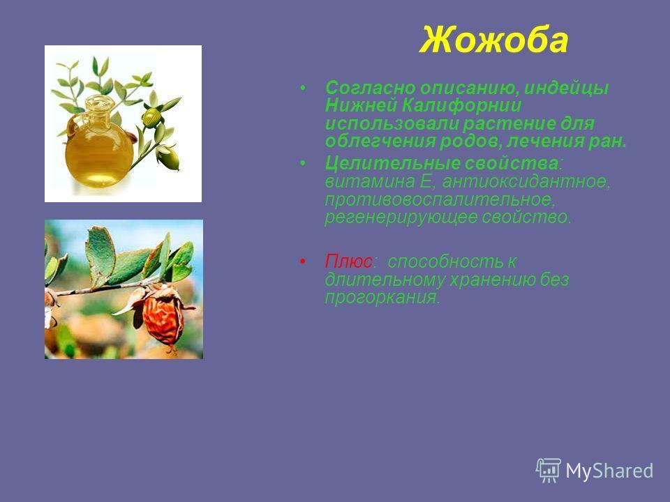 Жожоба Согласно описанию, индейцы Нижней Калифорнии использовали растение для облегчения родов, лечения ран. Целительные свойства: витамина Е, антиоксидантное, противовоспалительное, регенерирующее свойство. Плюс: способность к длительному хранению б