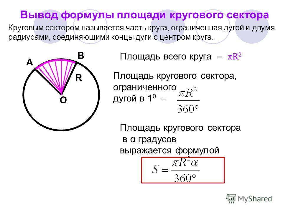 Вычисление длины дуги окружности длина окружности – 2 R, длина дуги в A 1градус L – длина дуги АВ равна B L = О
