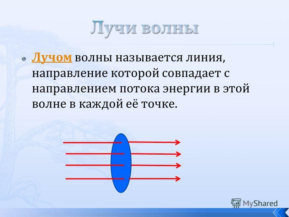 Лучом волны называется линия, направление которой совпадает с направлением потока энергии в этой волне в каждой её точке. Лучом