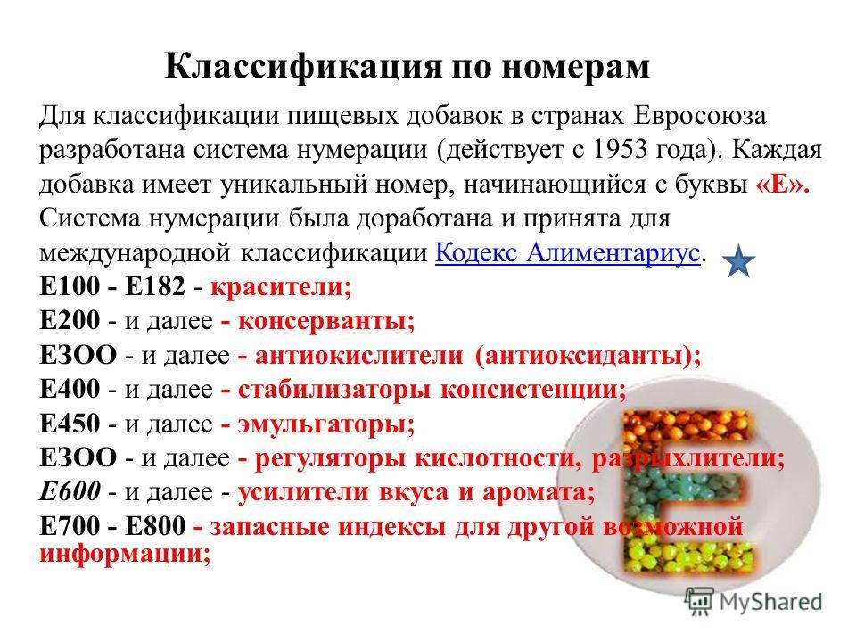 Классификация по номерам Для классификации пищевых добавок в странах Евросоюза разработана система нумерации (действует с 1953 года). Каждая добавка имеет уникальный номер, начинающийся с буквы «E». Система нумерации была доработана и принята для меж
