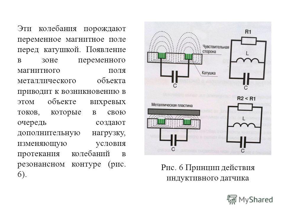 Эти колебания порождают переменное магнитное поле перед катушкой. Появление в зоне переменного магнитного поля металлического объекта приводит к возникновению в этом объекте вихревых токов, которые в свою очередь создают дополнительную нагрузку, изме