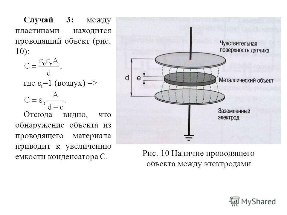 Случай 3: между пластинами находится проводящий объект (рис. 10): где ε r =1 (воздух) => Отсюда видно, что обнаружение объекта из проводящего материала приводит к увеличению емкости конденсатора С. Рис. 10 Наличие проводящего объекта между электродам