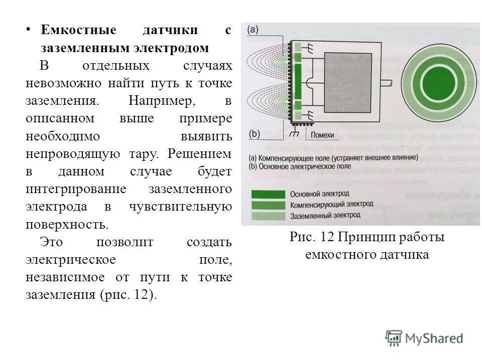 Емкостные датчики с заземленным электродом В отдельных случаях невозможно найти путь к точке заземления. Например, в описанном выше примере необходимо выявить непроводящую тару. Решением в данном случае будет интегрирование заземленного электрода в ч
