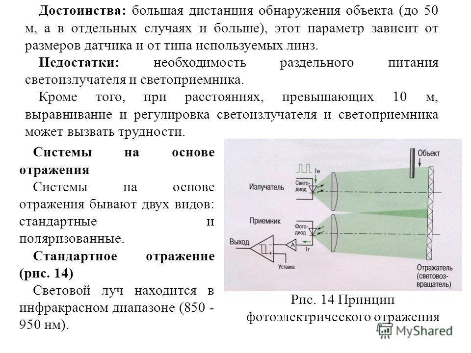 Достоинства: большая дистанция обнаружения объекта (до 50 м, а в отдельных случаях и больше), этот параметр зависит от размеров датчика и от типа используемых линз. Недостатки: необходимость раздельного питания светоизлучателя и светоприемника. Кроме