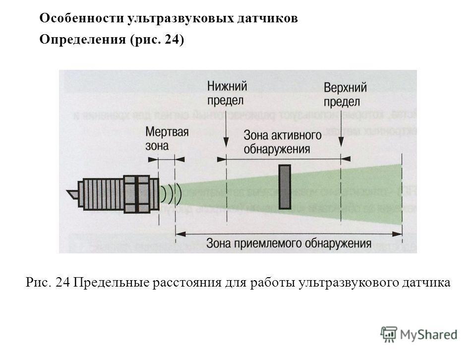 Особенности ультразвуковых датчиков Определения (рис. 24) Рис. 24 Предельные расстояния для работы ультразвукового датчика