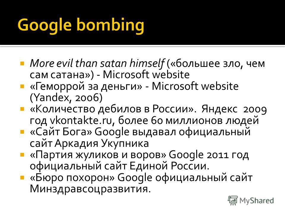 More evil than satan himself («большее зло, чем сам сатана») - Microsoft website «Геморрой за деньги» - Microsoft website (Yandex, 2006) «Количество дебилов в России». Яндекс 2009 год vkontakte.ru, более 60 миллионов людей «Сайт Бога» Google выдавал