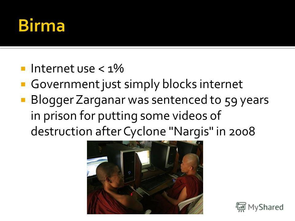 Internet use < 1% Government just simply blocks internet Blogger Zarganar was sentenced to 59 years in prison for putting some videos of destruction after Cyclone Nargis in 2008