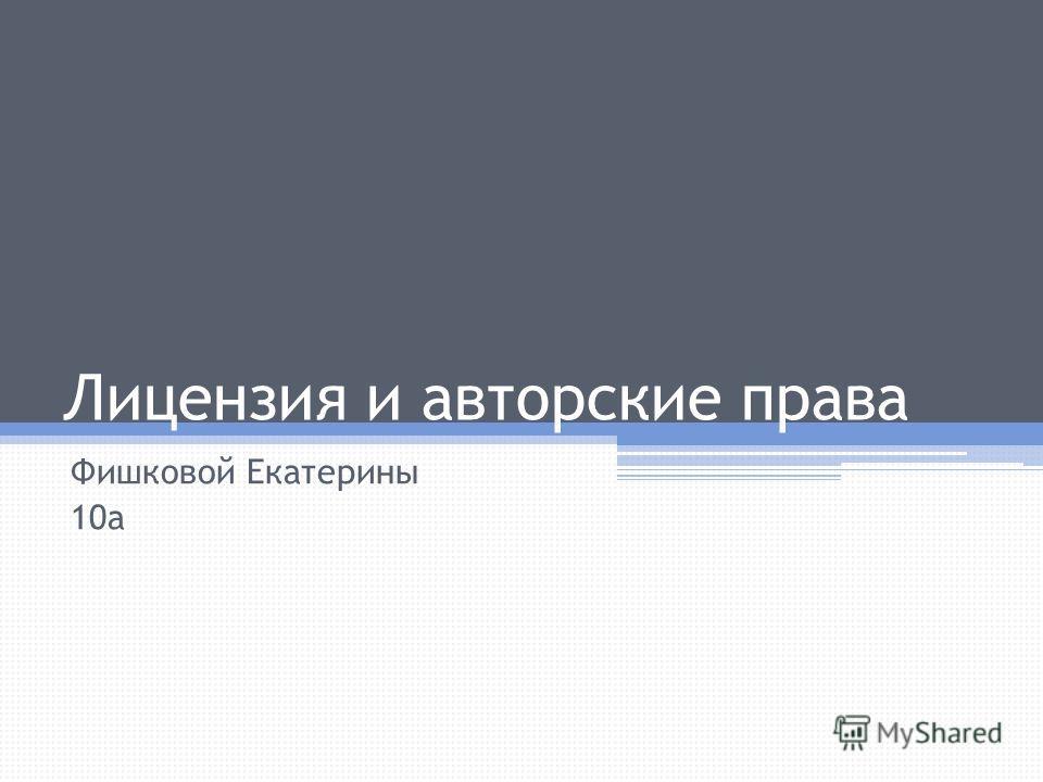 Лицензия и авторские права Фишковой Екатерины 10а