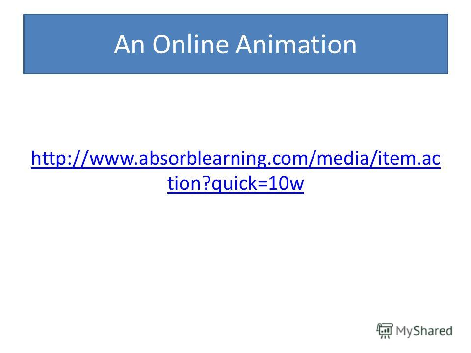An Online Animation http://www.absorblearning.com/media/item.ac tion?quick=10w