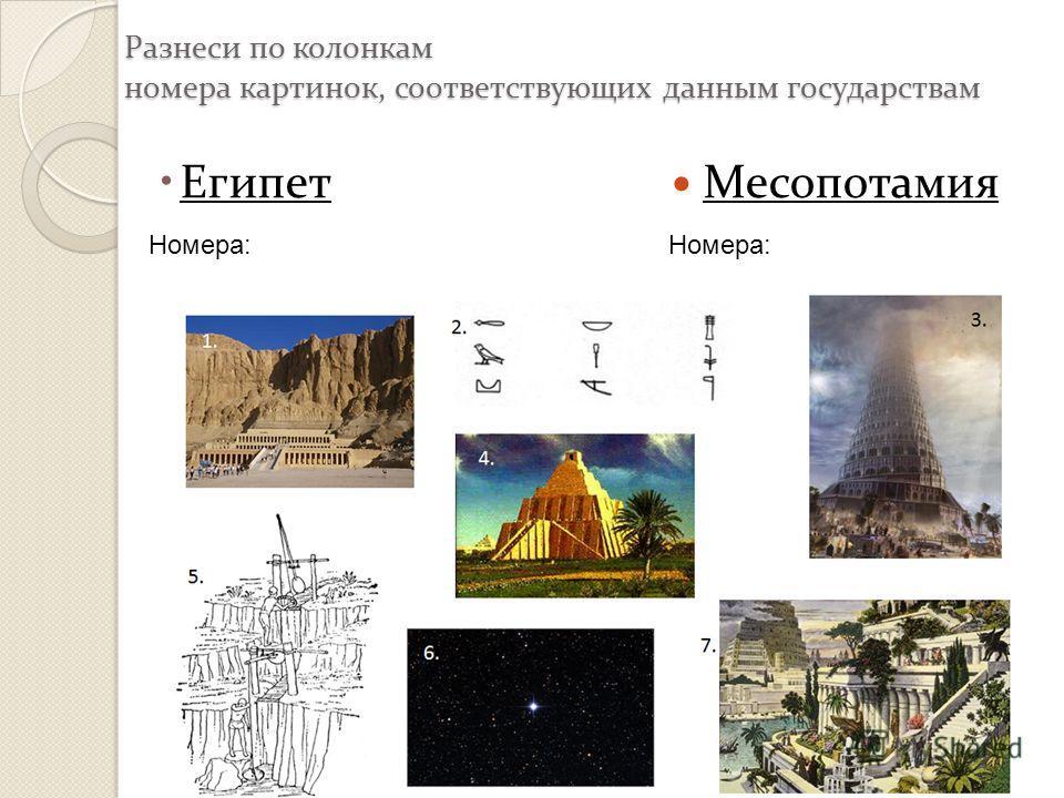 Разнеси по колонкам номера картинок, соответствующих данным государствам Египет Месопотамия Номера: