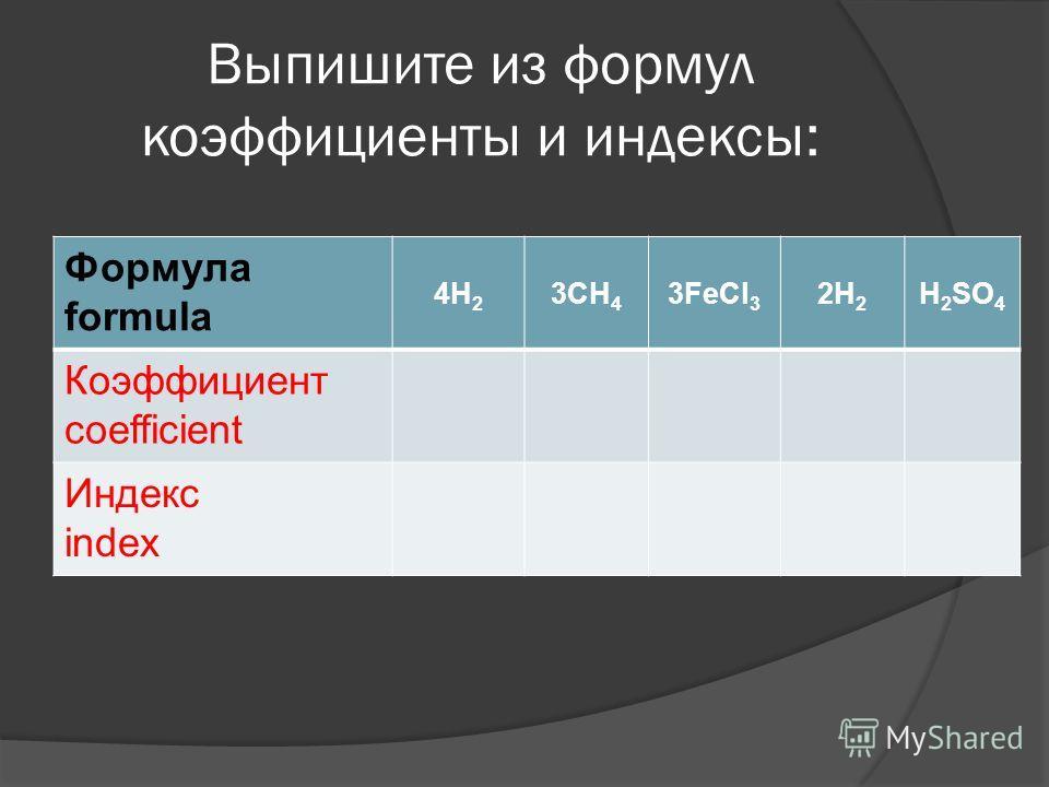 Выпишите из формул коэффициенты и индексы: Формула formula 4H 2 3CH 4 3FeCl 3 2H 2 H 2 SO 4 Коэффициент coefficient Индекс index