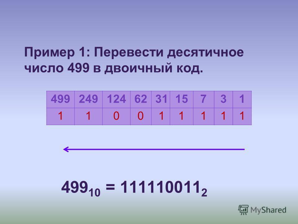 Пример 1: Перевести десятичное число 499 в двоичный код. 499 10 = 111110011 2 499 1 249 1 124 0 62 0 31 1 15 1 7 1 3 1 1 1