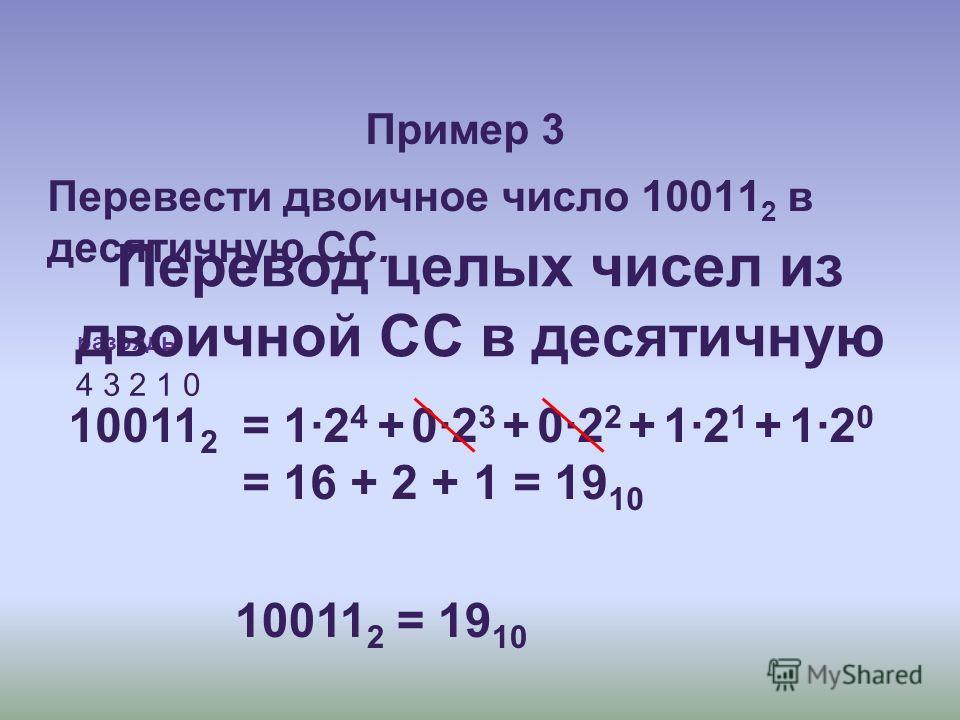 Пример 3 Перевести двоичное число 10011 2 в десятичную СС. 10011 2 4 3 2 1 0 разряды = 1·2 4 + 0·2 3 + 0·2 2 + 1·2 1 + 1·2 0 = 16 + 2 + 1 = 19 10 10011 2 = 19 10 Перевод целых чисел из двоичной СС в десятичную