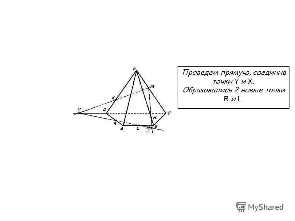 Проведём прямую, соединив точки Y и X. Образовались 2 новые точки R и L.