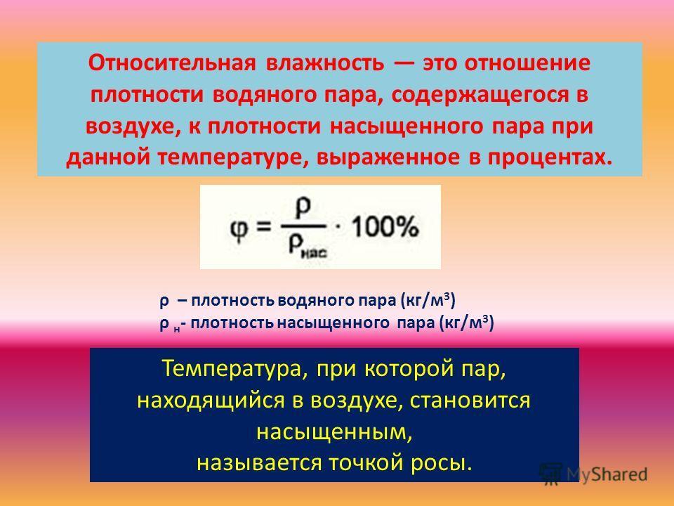 Относительная влажность это отношение плотности водяного пара, содержащегося в воздухе, к плотности насыщенного пара при данной температуре, выраженное в процентах. ρ – плотность водяного пара (кг/м 3 ) ρ н - плотность насыщенного пара (кг/м 3 ) Темп
