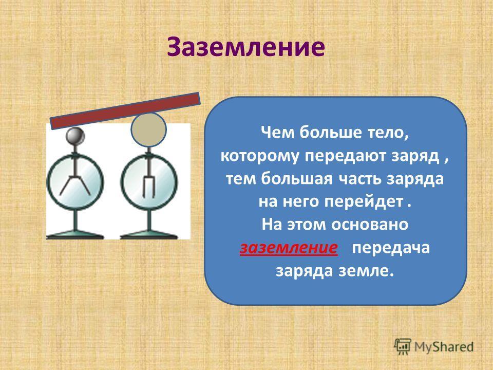 Заземление Чем больше тело, которому передают заряд, тем большая часть заряда на него перейдет. На этом основано заземление передача заряда земле.