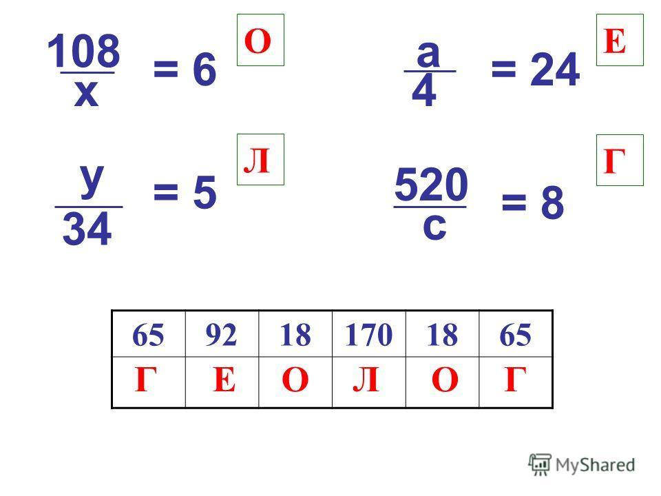 108 = 6= 6 х y = 5 34 a = 24 4 520 = 8 c О Л Е Г 6592181701865 ГГЕООЛ