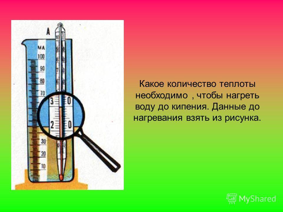 Какое количество теплоты необходимо, чтобы нагреть воду до кипения. Данные до нагревания взять из рисунка.