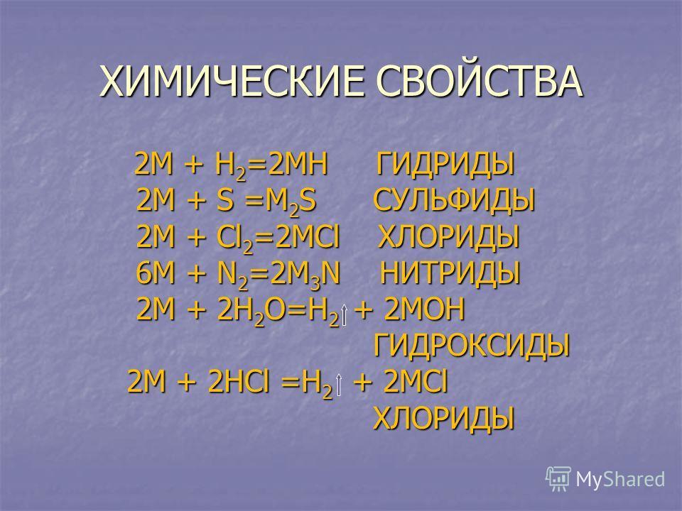 ХИМИЧЕСКИЕ СВОЙСТВА 2М + Н 2 =2МН ГИДРИДЫ 2М + Н 2 =2МН ГИДРИДЫ 2М + S =М 2 S СУЛЬФИДЫ 2М + S =М 2 S СУЛЬФИДЫ 2М + Сl 2 =2МСl ХЛОРИДЫ 2М + Сl 2 =2МСl ХЛОРИДЫ 6М + N 2 =2М 3 N НИТРИДЫ 6М + N 2 =2М 3 N НИТРИДЫ 2М + 2Н 2 О=Н 2 + 2МОН 2М + 2Н 2 О=Н 2 + 2