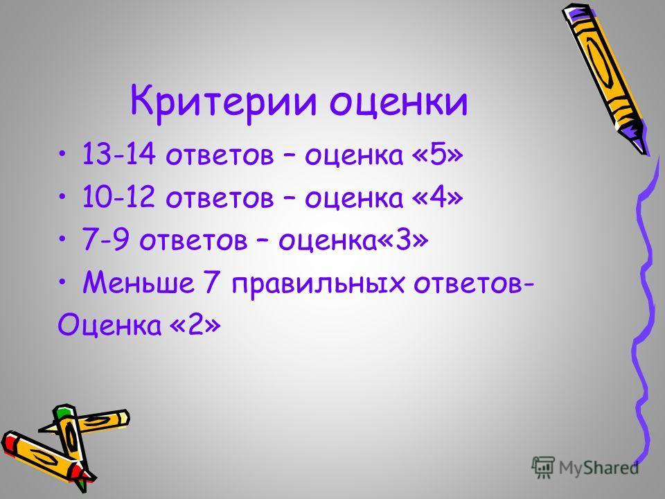 Критерии оценки 13-14 ответов – оценка «5» 10-12 ответов – оценка «4» 7-9 ответов – оценка«3» Меньше 7 правильных ответов- Оценка «2»