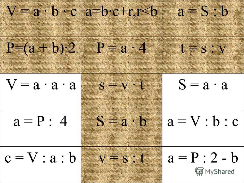 V = a · b · ca=b·c+r,r