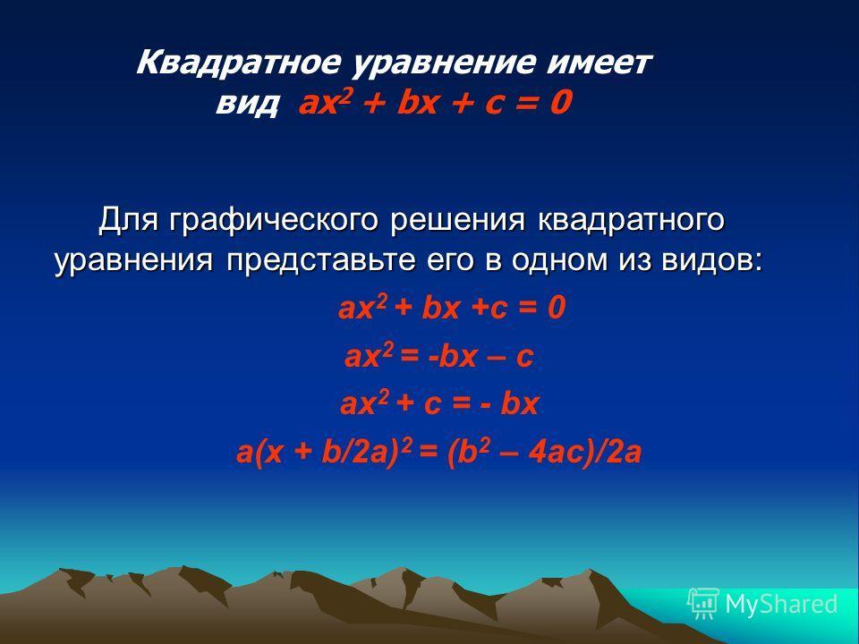 Для графического решения квадратного уравнения представьте его в одном из видов: Для графического решения квадратного уравнения представьте его в одном из видов: ax 2 + bx +c = 0 ax 2 = -bx – c ax 2 + c = - bx a(x + b/2a) 2 = (b 2 – 4ac)/2a Квадратно