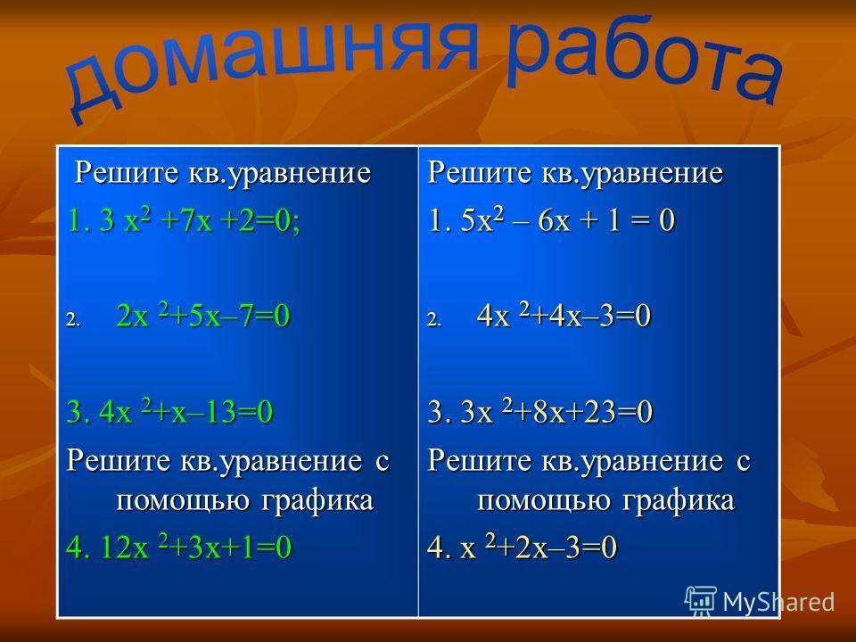 Решите кв.уравнение Решите кв.уравнение 1. 3 x 2 +7x +2=0; 2. 2х 2 +5х–7=0 3. 4х 2 +х–13=0 Решите кв.уравнение с помощью графика 4. 12х 2 +3х+1=0 Решите кв.уравнение 1. 5x 2 – 6x + 1 = 0 2. 4х 2 +4х–3=0 3. 3х 2 +8х+23=0 Решите кв.уравнение с помощью