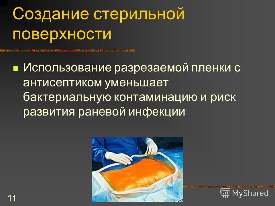 11 Создание стерильной поверхности Использование разрезаемой пленки с антисептиком уменьшает бактериальную контаминацию и риск развития раневой инфекции
