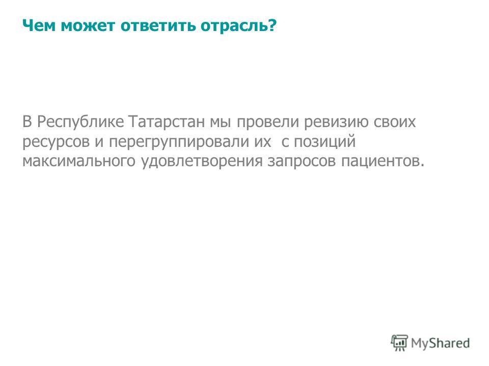 В Республике Татарстан мы провели ревизию своих ресурсов и перегруппировали их с позиций максимального удовлетворения запросов пациентов. Чем может ответить отрасль?