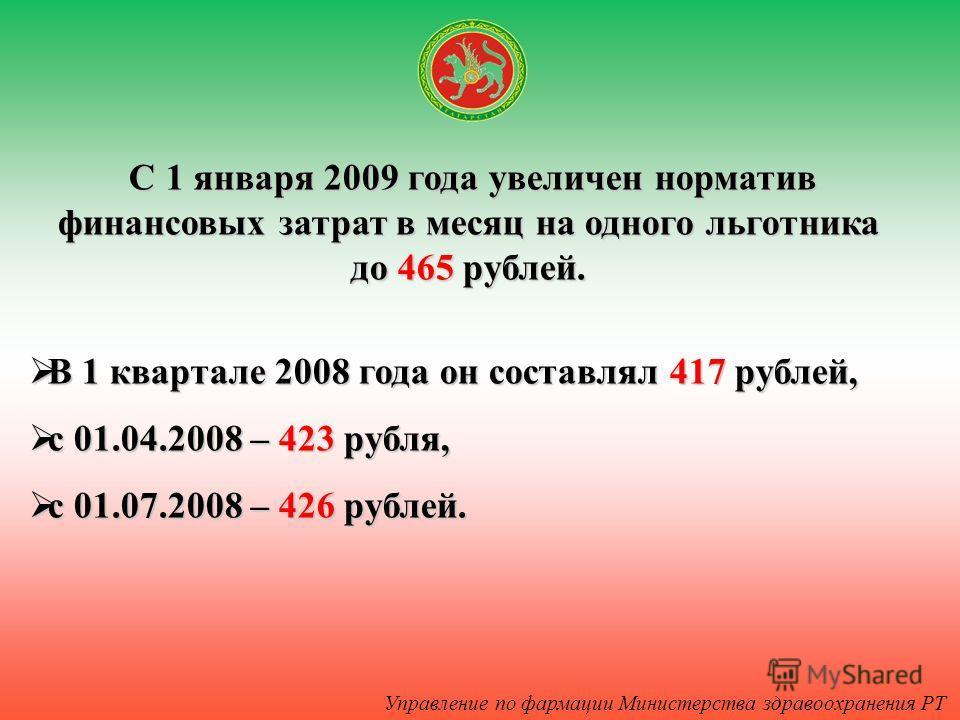 С 1 января 2009 года увеличен норматив финансовых затрат в месяц на одного льготника до 465 рублей. В 1 квартале 2008 года он составлял 417 рублей, В 1 квартале 2008 года он составлял 417 рублей, с 01.04.2008 – 423 рубля, с 01.04.2008 – 423 рубля, с