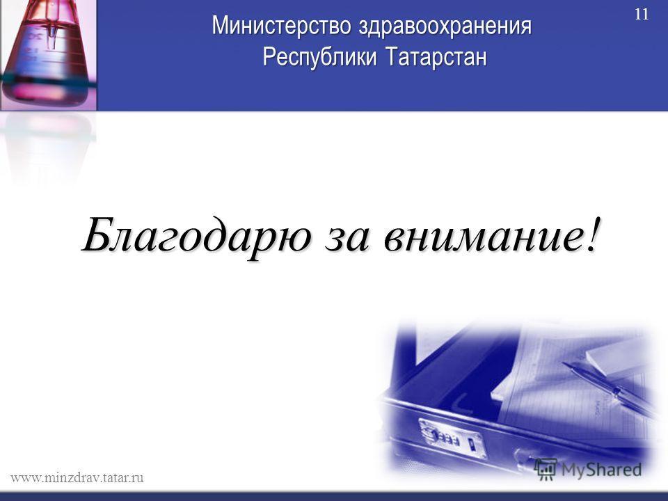 Министерство здравоохранения Республики Татарстан Благодарю за внимание! www.minzdrav.tatar.ru 11