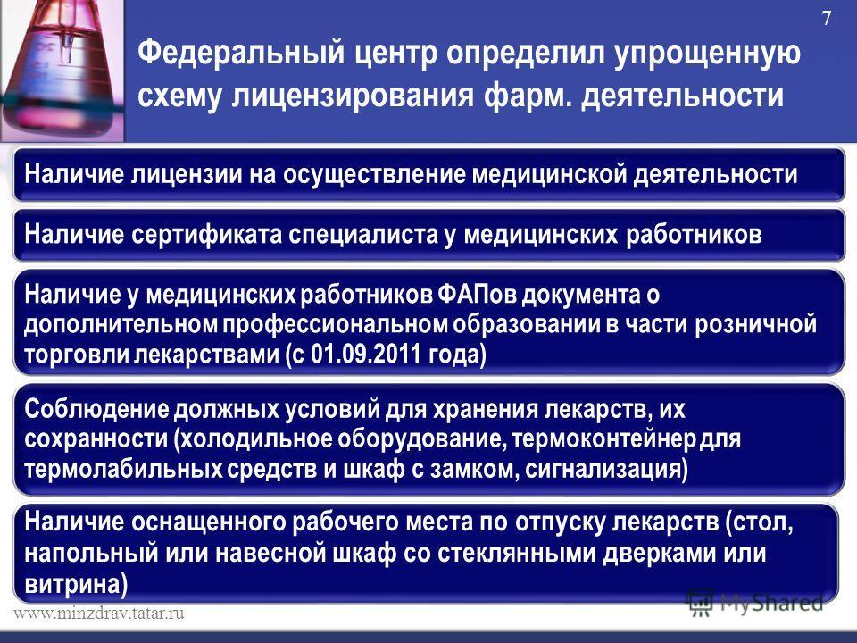 Федеральный центр определил упрощенную схему лицензирования фарм. деятельности www.minzdrav.tatar.ru 7 Наличие лицензии на осуществление медицинской деятельностиНаличие сертификата специалиста у медицинских работников Наличие у медицинских работников