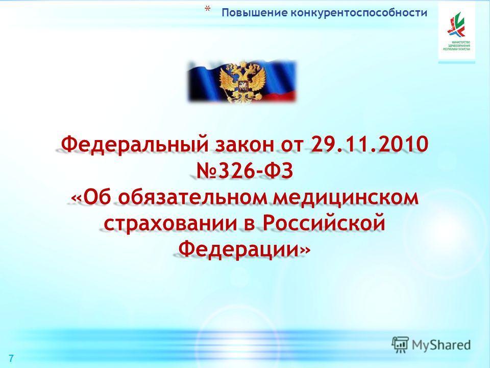 Федеральный закон от 29.11.2010 326-ФЗ «Об обязательном медицинском страховании в Российской Федерации» * Повышение конкурентоспособности 7