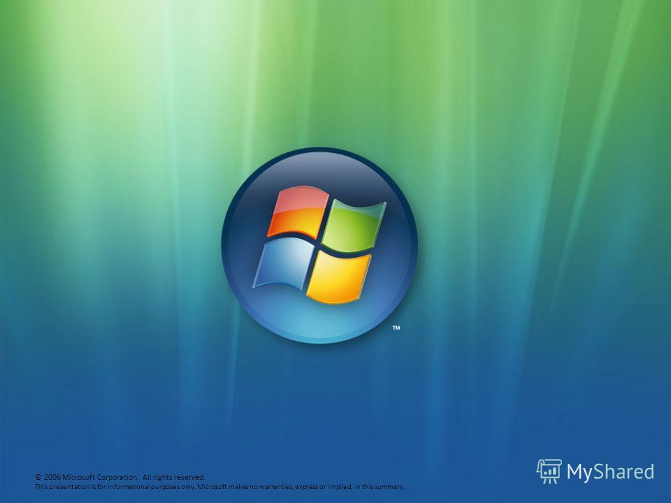 © 2006 Microsoft Corporation. All rights reserved. This presentation is for informational purposes only. Microsoft makes no warranties, express or implied, in this summary.