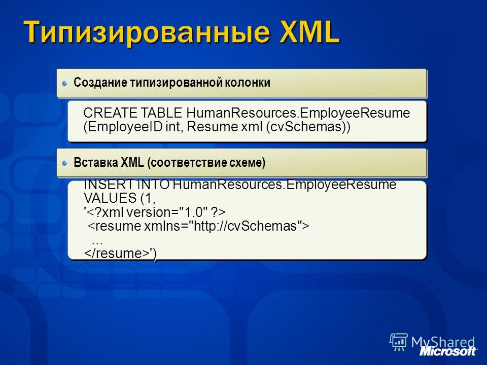 Типизированные XML Создание типизированной колонки CREATE TABLE HumanResources.EmployeeResume (EmployeeID int, Resume xml (cvSchemas)) CREATE TABLE HumanResources.EmployeeResume (EmployeeID int, Resume xml (cvSchemas)) INSERT INTO HumanResources.Empl