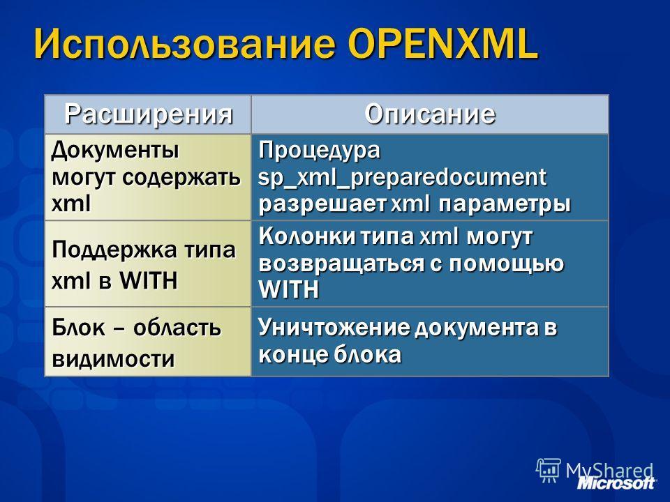 Использование OPENXML РасширенияОписание Документы могут содержать xml Процедура sp_xml_preparedocument разрешает xml параметры Поддержка типа xml в WITH Колонки типа xml могут возвращаться с помощью WITH Блок – область видимости Уничтожение документ